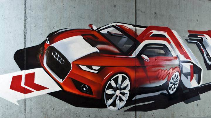 Audi A1 Streetart Drawing Top Closeup