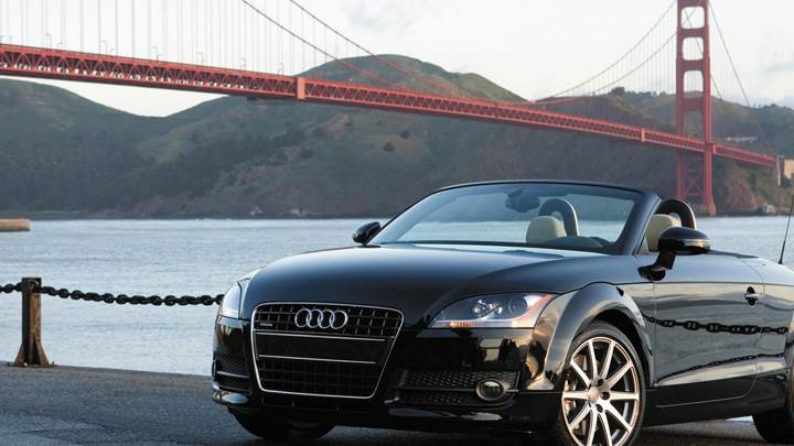 Audi TT Roadster Near Sea Side In Black Front Pose