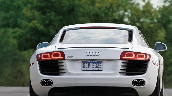 Back Pose Of Audi R8 In White