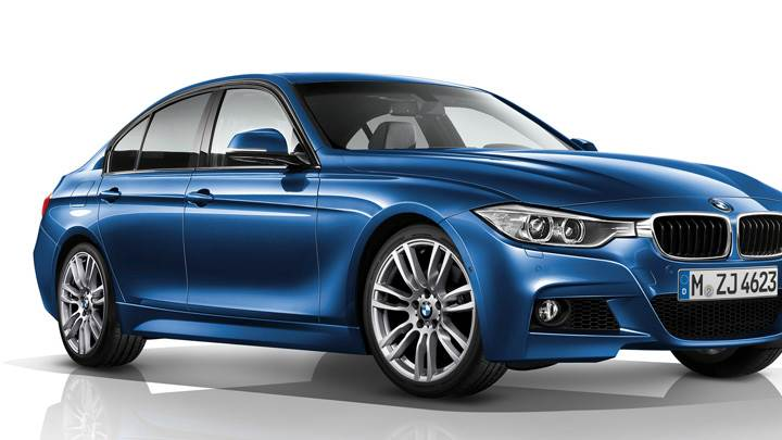 BMW 3 Series F30 M Sports Package Side Front Pose In Blue N White Background