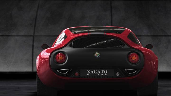 Back Pose Of 2010 Alfa Romeo TZ3 Corsa In Red