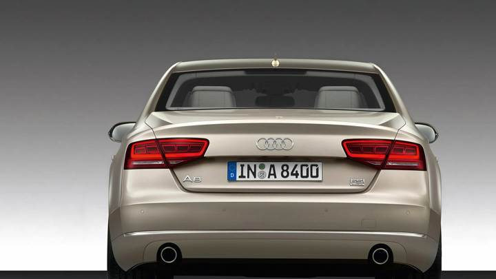 Back Pose Of 2011 Audi A8 In Golden