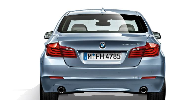 Back Pose Of 2012 BMW ActiveHybrid 5 In Blue