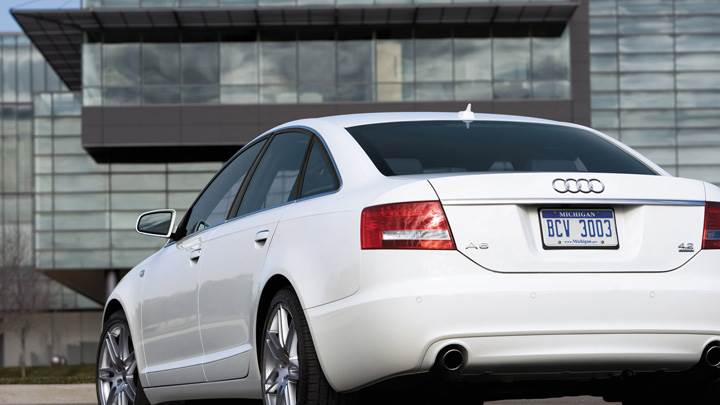 Back Pose Of Audi A6 S-line In White