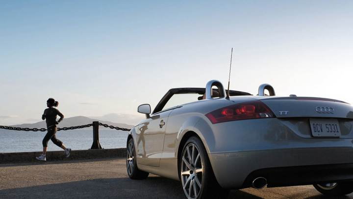 Back Pose Of Audi TT Roadster In White