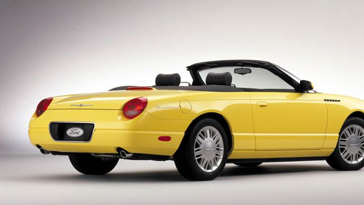 Back Side Pose Of 2002 Ford Thunderbird In Yellow