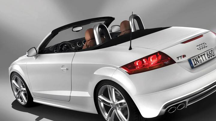 Back Side Pose Of 2009 Audi TTS In White
