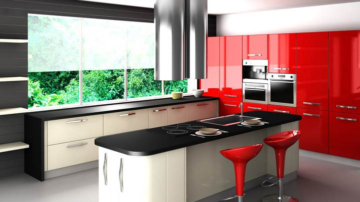 Black And Red Interior in Kitchen
