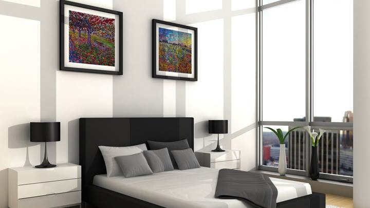 Black And White Interior in Bedroom Wallpaper
