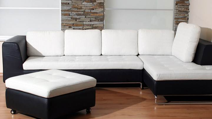 Black And White Sofa Set With Brown Floor