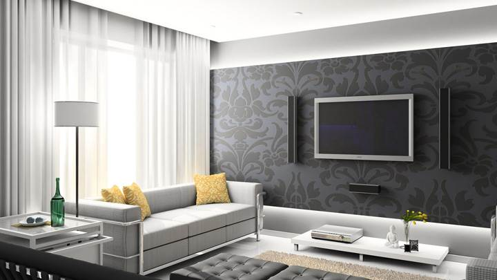Black Digital Interior And Home Theater Room