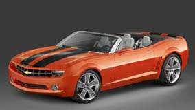 Chevrolet Camaro Convertible Side Front Pose In Orange