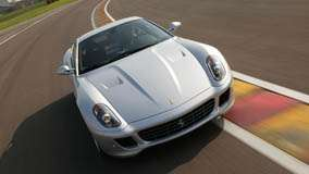 Ferrari 599 GTB Fiorano In White Front Pose On Race Course