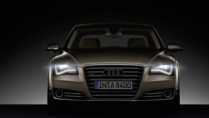 Front Pose Of 2011 Audi A8 And HeadLights On