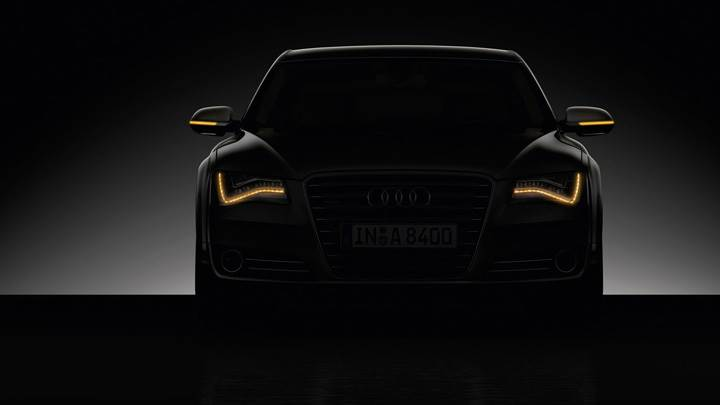 Front Pose Of 2011 Audi A8 In Night