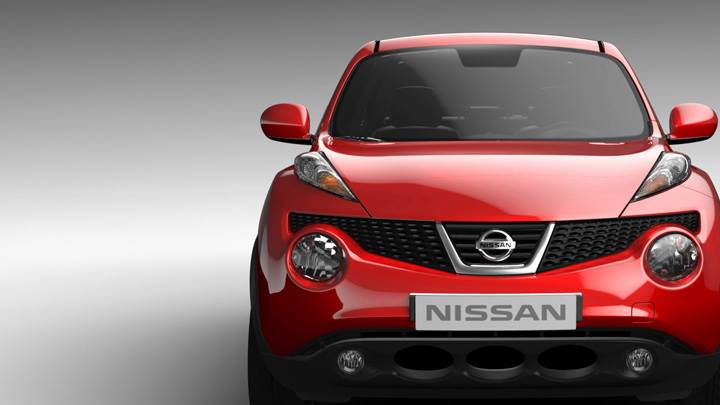 Front Pose Of 2011 Nissan Juke In Red