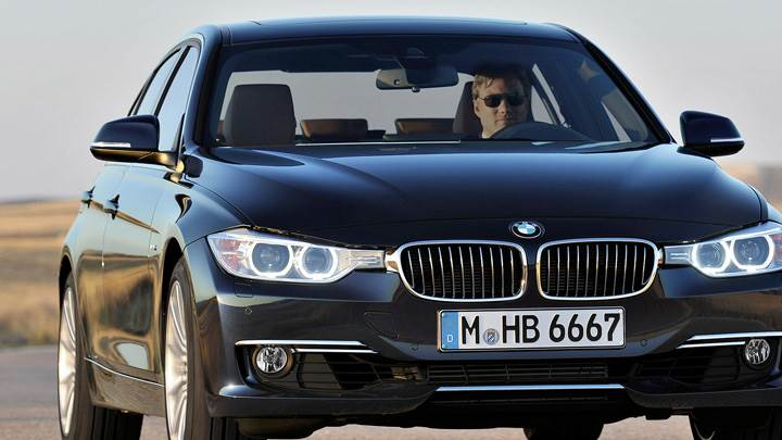 Front Pose Of 2012 BMW 3 Series Sedan F30 In Black
