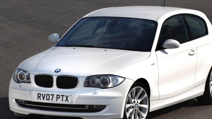 Front Pose Of BMW 1 Series 3 Door In White