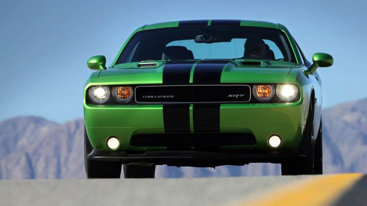Front Pose Of Dodge Challenger SRT8 HeadLights On