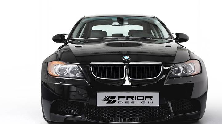 Front Pose Of Prior Design BMW 3-Series E90 PD-M In Black N White Background