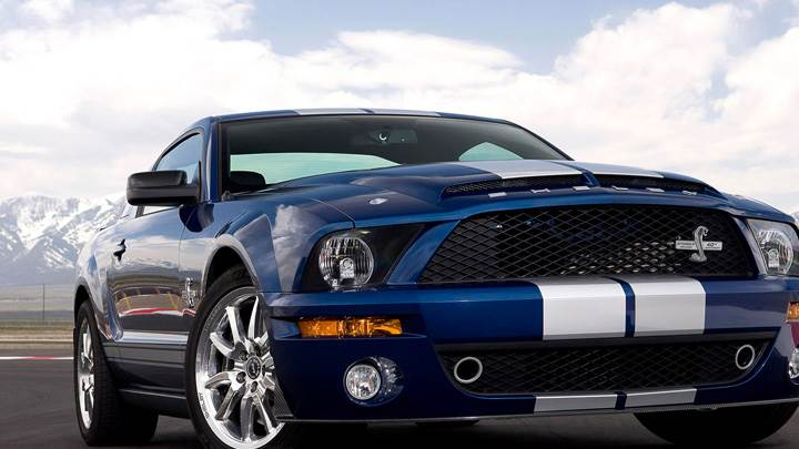 Front Pose of 2008 Ford Shelby GT500KR In Blue On Racing Track