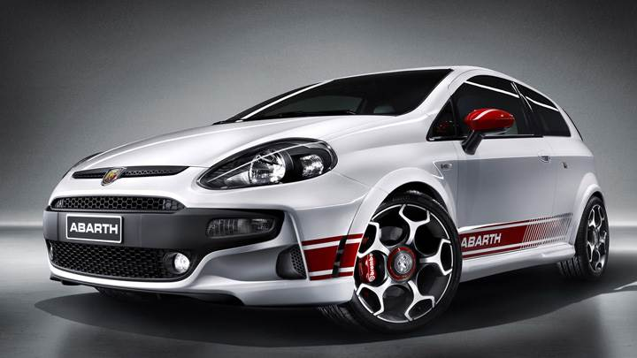 Front Side Pose Of 2010 Abarth Punto Evo In White
