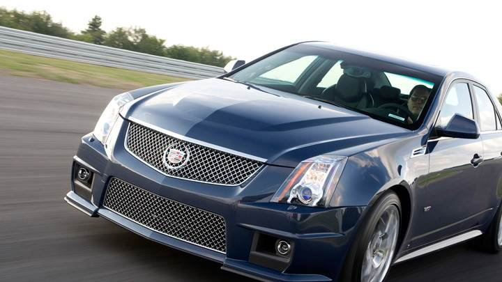 Running 2011 Cadillac CTS-V In Blue Front Pose