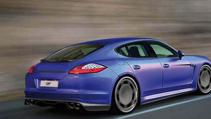 Running 9ff Porsche Panamera Turbo In Blue Back Side Pose