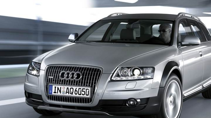 Running Audi A6 Avant S-Line In Grey Front Pose