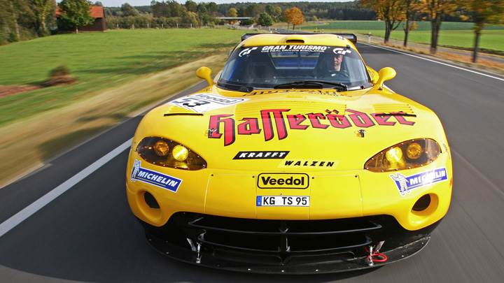 Running Front Pose Of Zakspeed Dodge Viper In Yellow