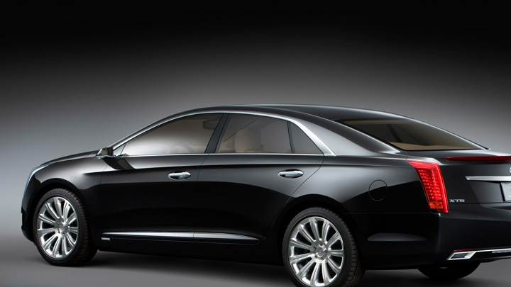 Side BAck Pose Of 2010 Cadillac XTS Platinum Concept In Black