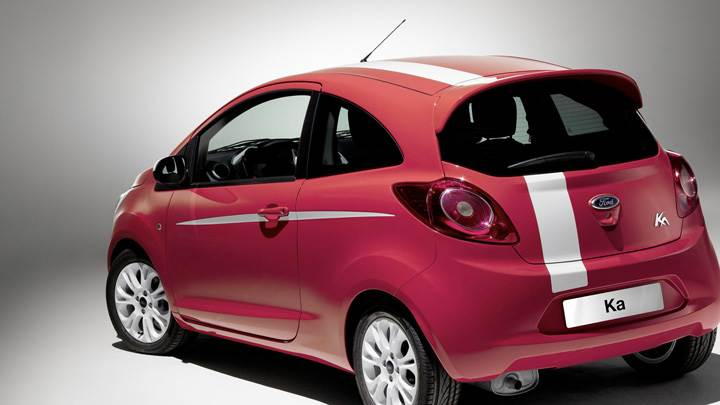 Side Back Pose Of 2008 Ford Ka Grand Prix In Red