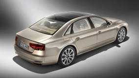 Side Back Pose Of 2011 Audi A8 L W12 Quattro In Golden