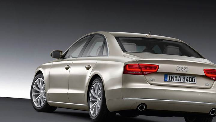 Side Back Pose Of 2011 Audi A8 Wallpaper