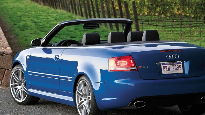 Side Back Pose Of Audi RS4 Cabriolet In Blue