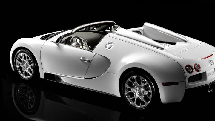 Side Back Pose Of Bugatti Veyron 16.4 Grand Sport N Black Background