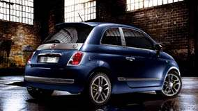 Side Back Pose Of Fiat 500 By Diesel In Blue