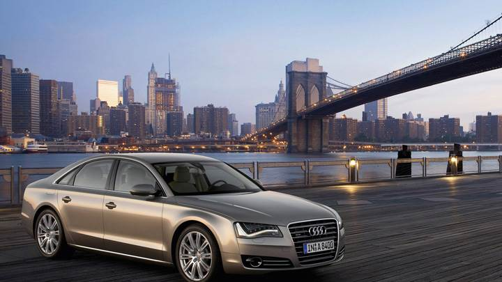 2011 Audi A8 Side Front Pose In Golden