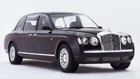 Side Front Pose Of 2001 Bentley State Limousine In Black