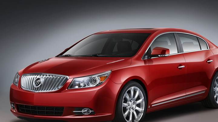 Side Front Pose Of 2010 Buick LaCrosse CXS In Red