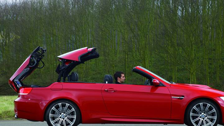 Side Pose Of 2008 BMW M3 Convertible In Red