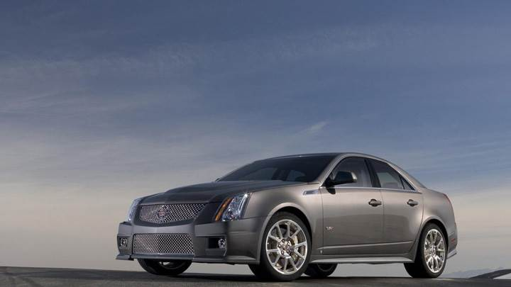Side Pose Of 2009 Cadillac CTS-V In Grey