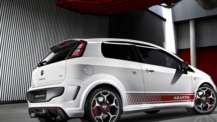 Side Pose Of 2010 Abarth Punto Evo In White