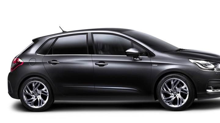 Side Pose Of 2011 Citroen C4 In Black N White Background