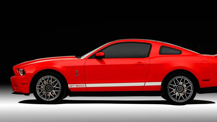 Side Pose Of 2011 Ford Shelby GT500 SVT In Red