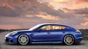 Side Pose Of 9ff Porsche Panamera Turbo In Blue