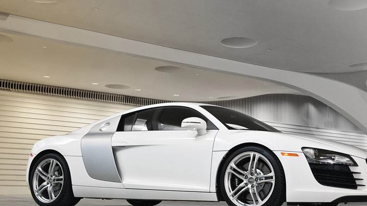 Side Pose Of Audi R8 In White