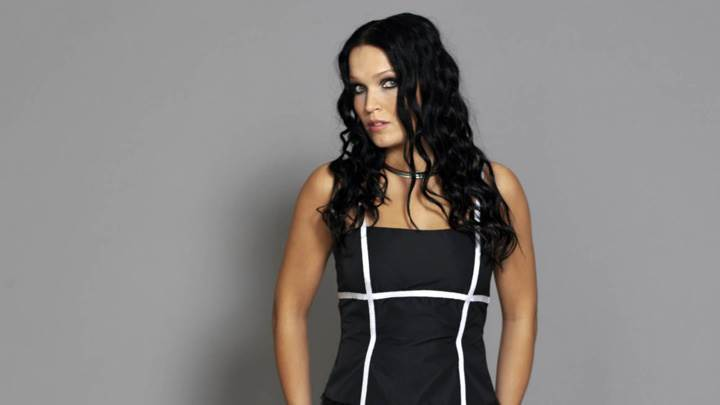 Tarja Turunen Front Pose N Side Face In Black Dress Photoshoot