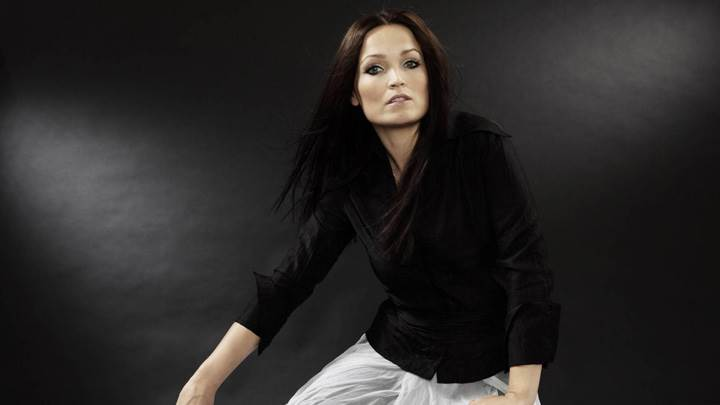 Tarja Turunen In Black N White Dress N Black Background