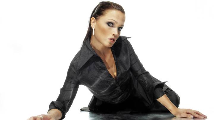 Tarja Turunen Laying On Floor In Black Dress N White Background
